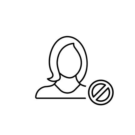 Account, ban, block, girl, profile, user, woman icon. Vector line icon