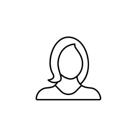 Account, avatar, female, girl, profile, user, woman icon. Vector line icon