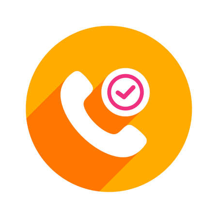 Button check sign handle handset phone safe telephone icon. Vector illustration