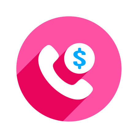Dollar with handset icon Vector illustration