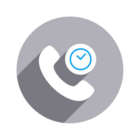 Clock deadline handset telephone icon.