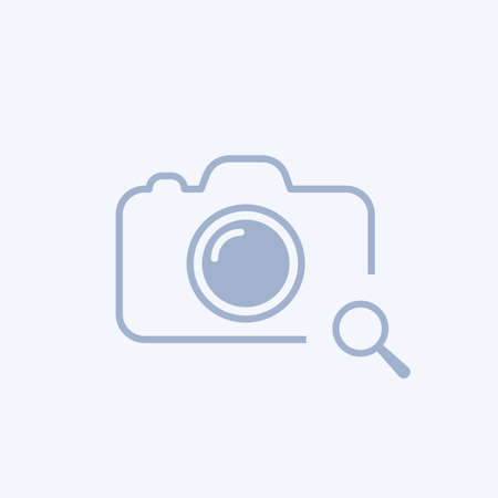 Camera icon with research sign. Illustration