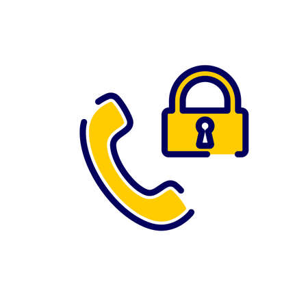 Call icon with padlock sign. Call icon and security, protection, privacy concept. Vector icon