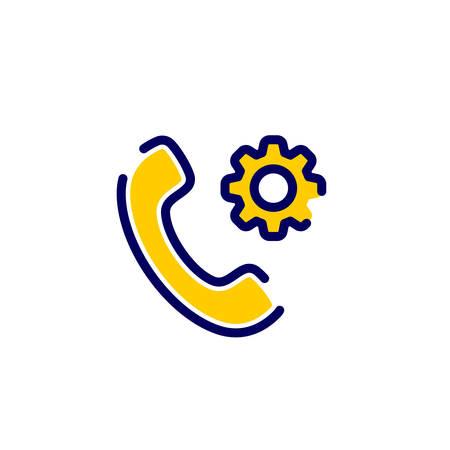 Anrufsymbol mit Einstellungen Zeichen. Symbol aufrufen und anpassen, einrichten, verwalten, Konzept verarbeiten. Vektor Icon