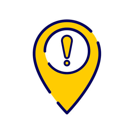 Location icon with exclamation mark. Vector icon