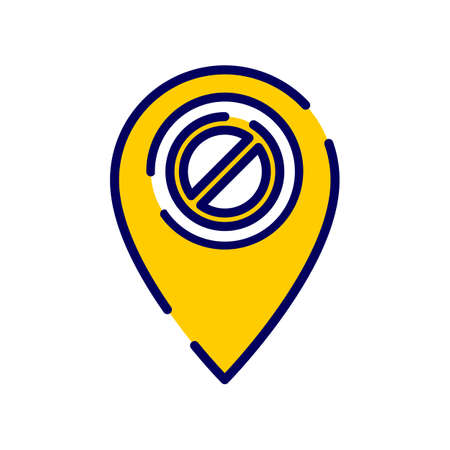 Location icon with not allowed sign. Vector icon