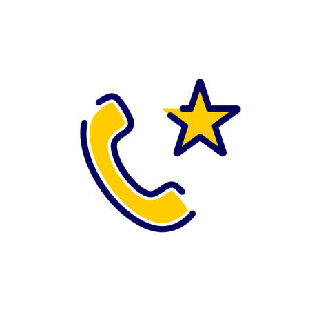 Call icon with star sign. Call icon and best, favorite, rating concept. Vector icon Illustration
