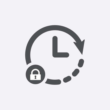 Clock icon with padlock sign. Clock icon and security, protection, privacy symbol. Vector icon
