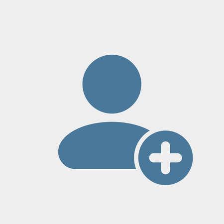 Icono de usuario con agregar signo. Icono de usuario y nuevo, además, concepto positivo. Icono del vector Ilustración de vector