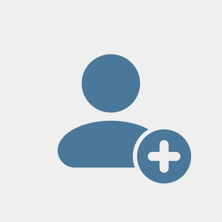 User icon with add sign. User icon and new, plus, positive concept. Vector icon Banco de Imagens - 97147833