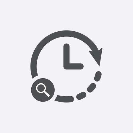 Clock icon with research sign. Clock icon and explore, find, inspect symbol. Vector icon Vettoriali