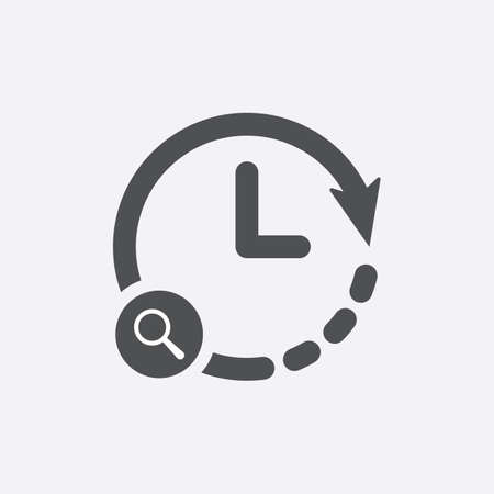 Clock icon with research sign. Clock icon and explore, find, inspect symbol. Vector icon Vectores