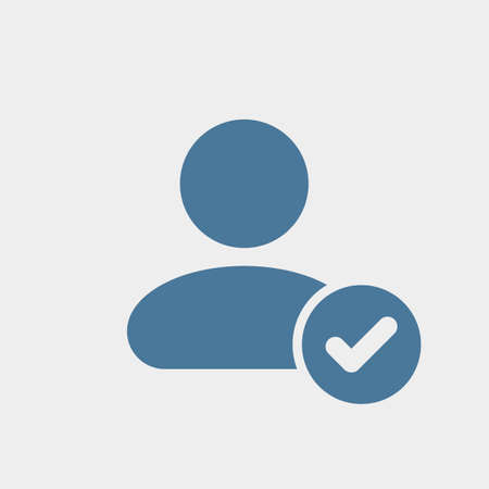 User icon with check sign. User icon and approved, confirm, done, tick, completed concept. Vector icon Vectores