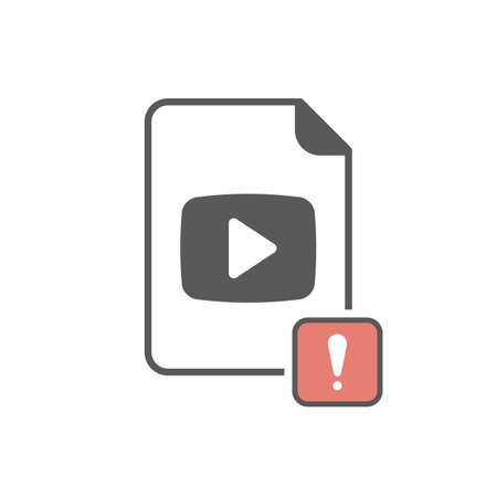 Video icon with exclamation mark image illustration