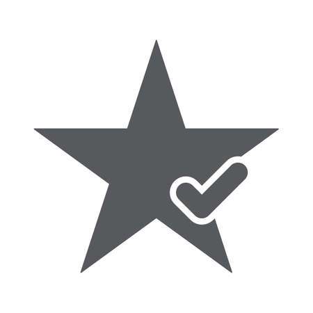 Star icon with check sign. Star icon and approved, confirm, done, tick, completed symbol. Vector icon Çizim