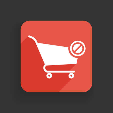 Shopping cart icon with not allowed sign. Shopping cart icon and block, forbidden, prohibit symbol. Vector icon Ilustrace