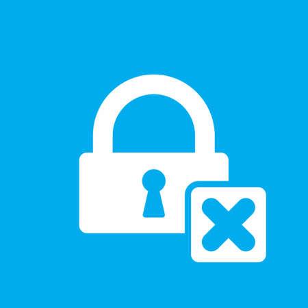 Lock icon with cancel sign. Lock icon and close, delete, remove symbol. Vector icon