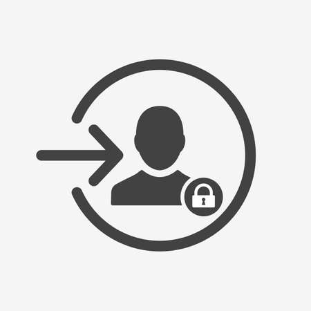 Login icon with padlock sign. Login icon and security, protection, privacy symbol. Vector icon
