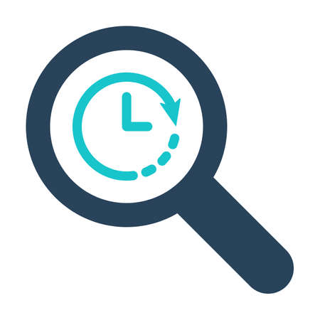 Magnifying glass icon with clock sign. Magnifying glass icon and countdown, deadline, schedule, planning symbol. Vector icon
