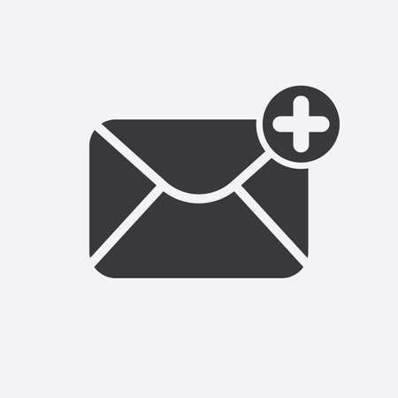 Mail icon with add sign. Mail icon and new, plus, positive symbol. Vector icon