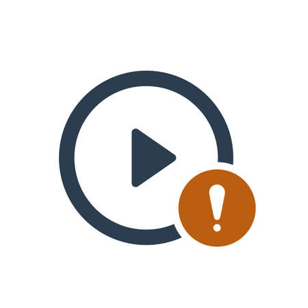 Play button icon with exclamation mark. Play button icon and alert, error, alarm, danger symbol. Vector icon