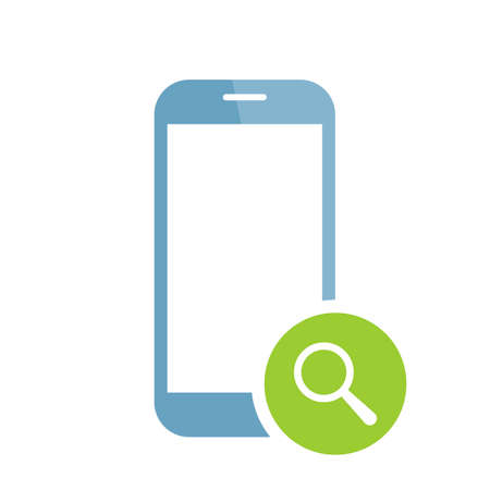 Mobile phone icon with research sign. Mobile phone icon and explore, find, inspect symbol. Vector icon