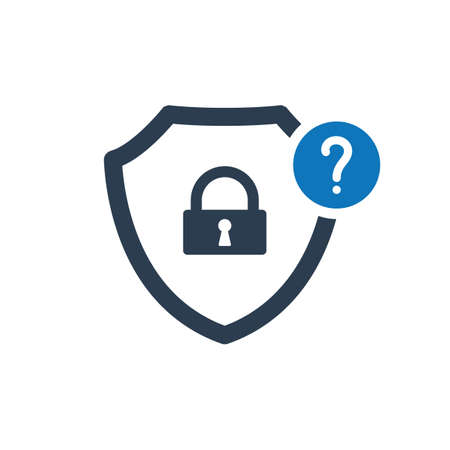 Security icon with question mark. Security icon and help, how to, info, query symbol. Vector icon Stok Fotoğraf - 97337361