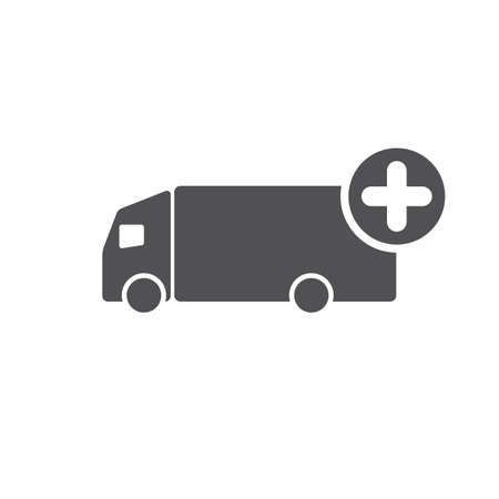 Truck icon with add sign. Truck icon and new, plus, positive symbol. Vector icon Vettoriali