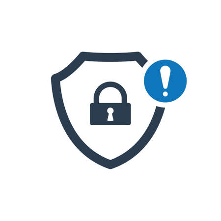 Security icon with exclamation mark. Vector icon