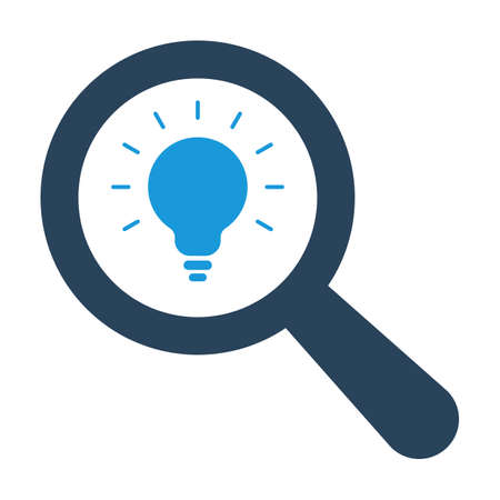Magnifying optical glass with Light Bulb icon on white background. Vector icon