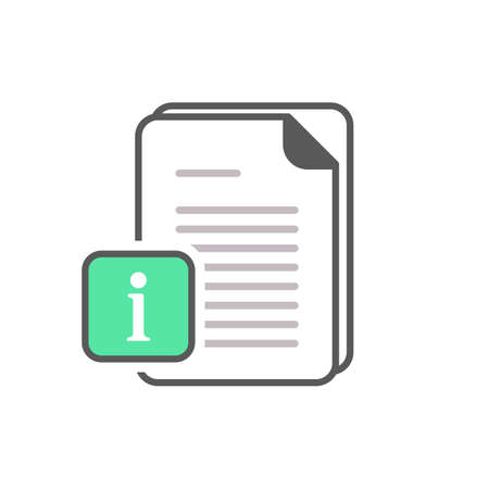 Document icon with information sign. Document icon and about, faq, help, hint symbol. Vector icon