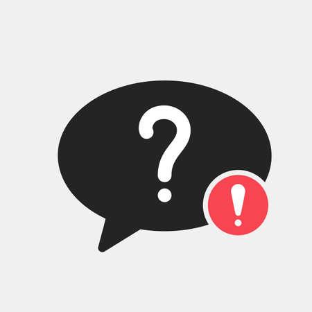 Help icon with exclamation mark. Help icon and alert, error, alarm, danger symbol. Vector icon