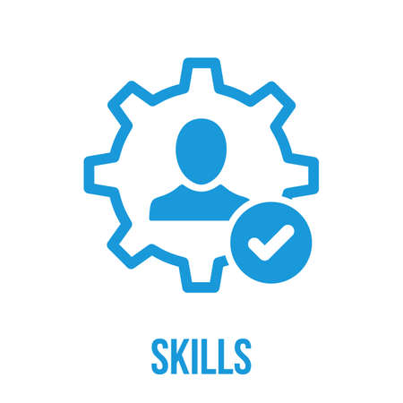 A Skills icon with check sign. Skills icon and approved, confirm, done, tick, completed symbol. Vector icon Ilustrace