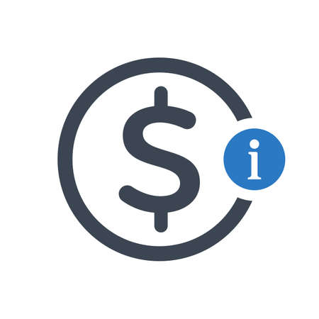 Icône de finances avec panneau d'information. Icône de finances et sur, faq, aide, symbole de conseil. Icône vecteur