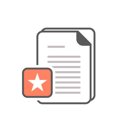 Document icon with star sign. Document icon and best, favorite, rating symbol. Vector icon