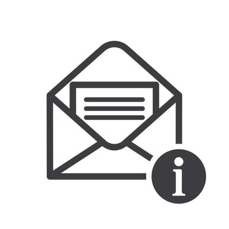 Envelope icon with information sign. Envelope icon and about, faq, help, hint symbol. Vector icon