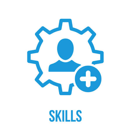 Skills icon with add sign. Skills icon and new, plus, positive symbol. Vector icon