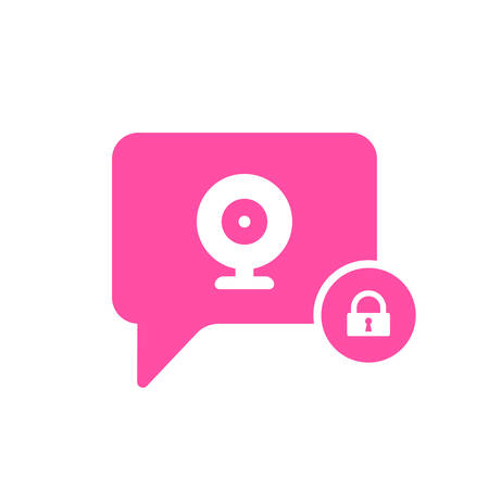 Video Chat icon with padlock sign. Video Chat icon and security, protection, privacy symbol. Vector icon
