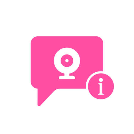 Pink chat bubble with video chat icon with a letter i information sign.