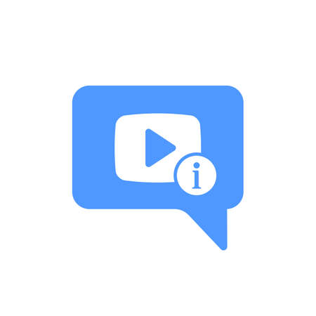 Video Chat icon with information sign. Video Chat icon and about, faq, help, hint symbol. Vector icon
