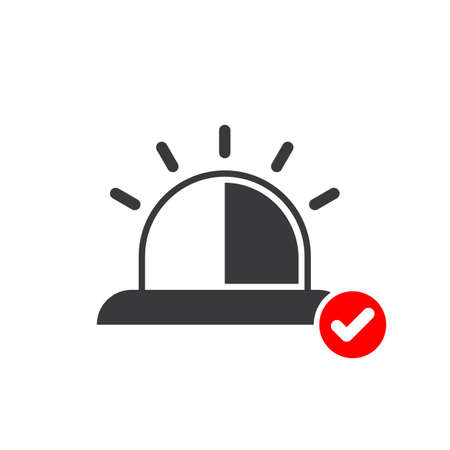 Emergency icon with check sign. Emergency icon and approved, confirm, done, tick, completed symbol. Vector icon Stock Illustratie