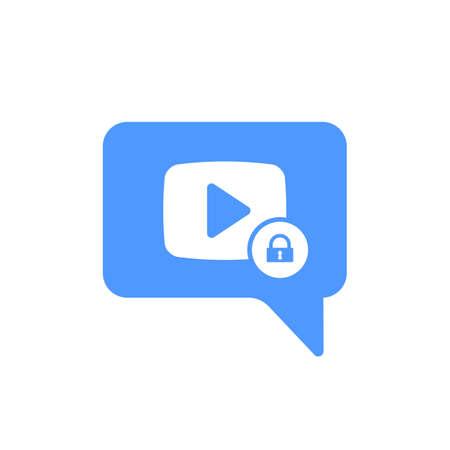 Videochat-pictogram met hangslotteken. Videochat-pictogram en beveiliging, bescherming, privacy-symbool. Vector pictogram Vector Illustratie