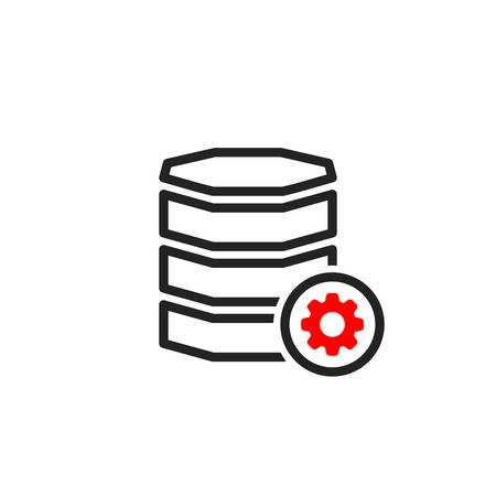 Database icon with settings sign. Database icon and customize, setup, manage, process symbol. Vector icon