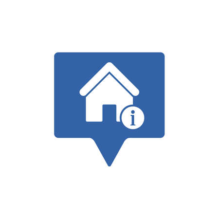 Address icon with information sign. Address icon and about, faq, help, hint symbol. Vector icon