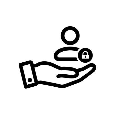 Customer icon with padlock sign. Customer icon and security, protection, privacy symbol. Vector icon