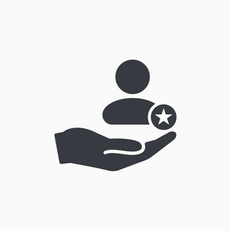 Customer icon with star sign. Customer icon and best, favorite, rating symbol. Vector icon  イラスト・ベクター素材