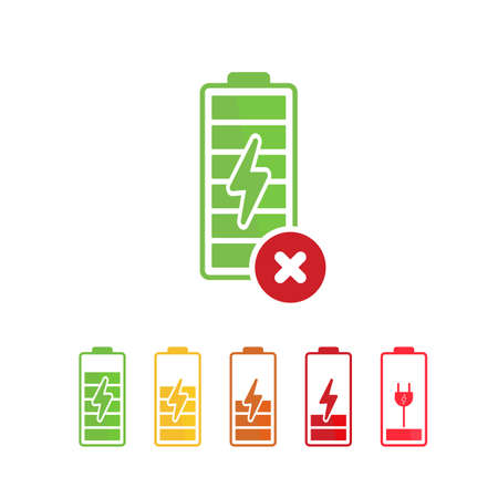 Battery icon with cancel sign.