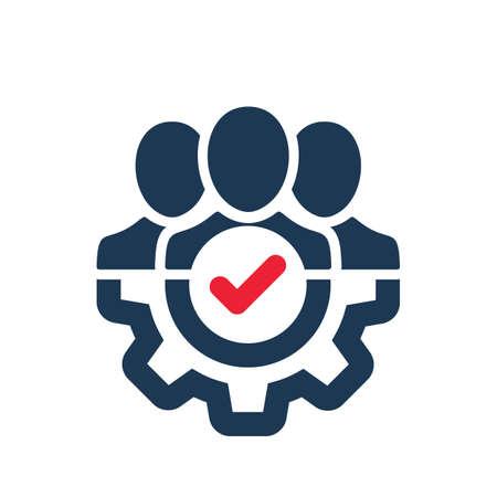 Icono de gestión con signo de verificación. Icono de gestión y aprobado, confirmar, hecho, marcar, símbolo completado. Icono del vector