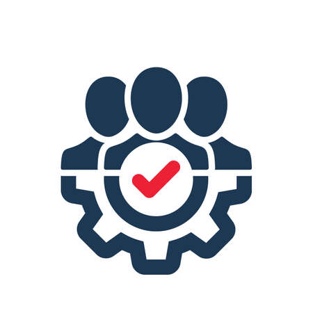 Management icon with check sign. Management icon and approved, confirm, done, tick, completed symbol. Vector icon