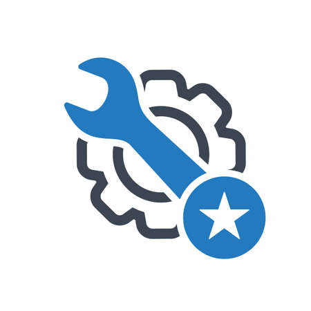 Maintenance icon with star sign. Maintenance icon and best, favorite, rating symbol. Vector icon